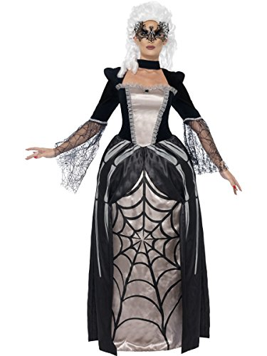 Ladies Black Widow Spider Full Length Long Vamp Vampire Baroness Halloween Fancy Dress Costume Outfit (UK 8-10)]()