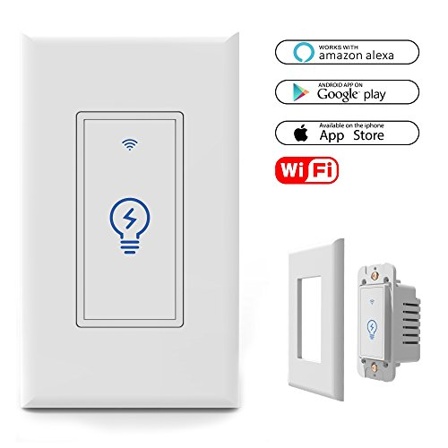 Smart WiFi Light Switch In-Wall, Wireless Lighting On/Off No Hub Required, Timing Function Control your Fixtures from Anywhere, Voice Control with Alexa, wall plate included 15 A