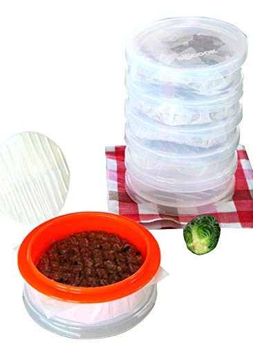 silicook Non-Stick Hamburger Press Double Hamburger Press with Patty Ejector Makes it a Regular Shape 1 Press + 1 Guide Ring + 6 Storage Containers + 1 Lid