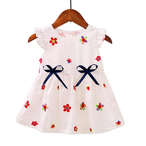 Girls White And Pink Reversible Tutu - Kenvenz Kids Baby Girls Cute Short Sleeve Flowers Embroidery Print Casual Dress (6M, White)