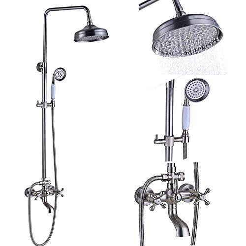Senlesen Wall Mounted Rain 8 Inch Brass Round Shower Head Shower Faucet Set Bathroom Bathtub Hand Spray Tub Tap Brushed Nickel Bathroom fixtures