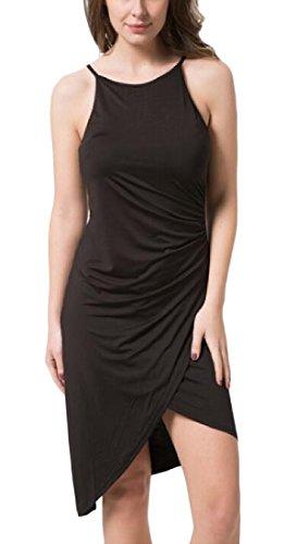 Coolred-femmes Populaire Scoop Sans Manches Oversize Courte Mini-robe Noire