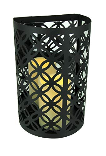 Matte Black Cutout Circle Pattern Filigree Mirrored Sconce with LED Candle