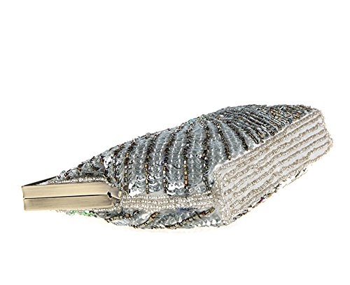 Evening Pattern Blue TM Women's Silver Exquisite Wedding Party Retro Beaded niceEshop Handbag Peacock 0Zwfxqq