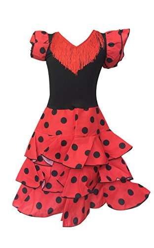 Spanish Dancer Fancy Dress (La Senorita Spanish Flamenco Dress - Girls/Kids - Red/Black Deluxe (Size 10-7-8)