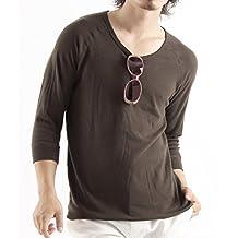 Valletta Men's 13color plain U neck three-quarter sleeve cut T-shirt