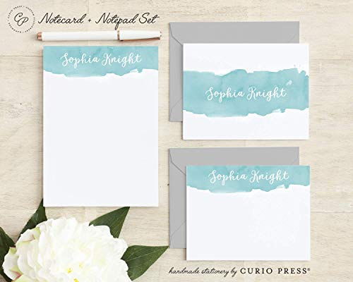 WATERCOLOR SCRIPT SET / 3 Piece Set/FOLDED + FLAT + PAD // Personalized Notecard and Notepad Stationery/Stationary Set