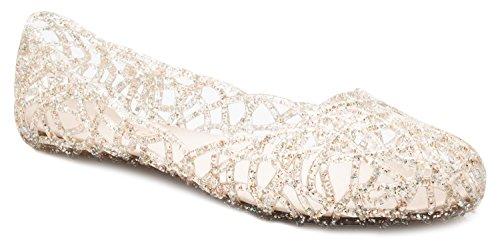 OLIVIA K Women's Slip On Ballet Flats Jelly Mesh Flat Sandals by OLIVIA K