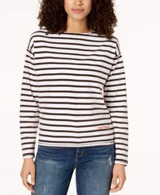 Calvin Klein Jeans Womens Distressed Striped T-Shirt White XL ()
