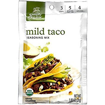 - Simply Organic Mild Taco Seasoning Mix, 1 Ounce (3 Pack)