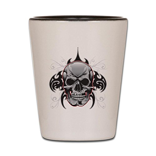 Shot Glass White and Black of Tribal Skull -