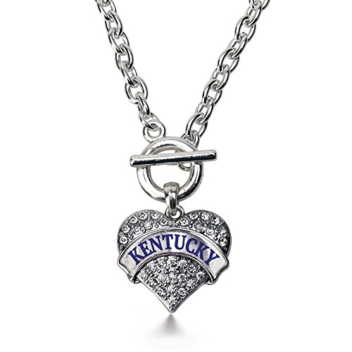 Inspired Silver Kentucky Pave Heart Toggle Necklace Clear Crystal Rhinestones