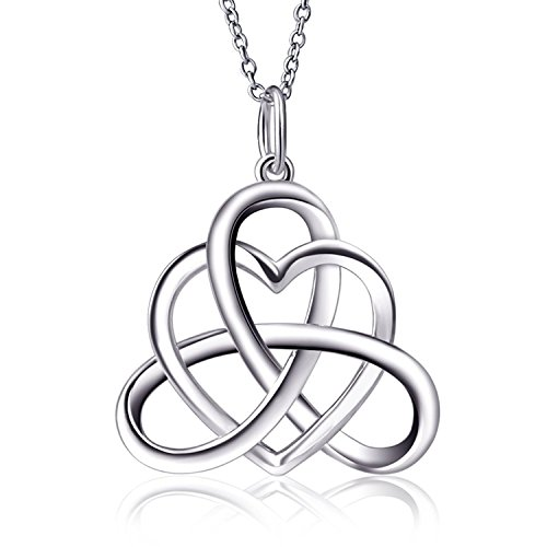 Mmiiss 925 Sterling Silver Irish Triangle Celtic Knot Dangle Necklace Heart Vintage Pendant Necklace Good Luck 18