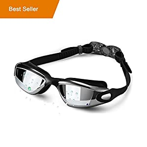 MSDADA Swim Goggles, Swimming Goggles No Leaking UV Protection Anti Fog With Clear Vision,Soft Silicone Frame, Protection Case,for Adult Men Women Youth Children and Kids ,Black