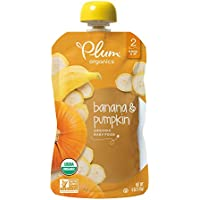 12-Pack Plum Organics Stage 2, Organic Baby Food, Banana and Pumpkin, 4 Ounce Pouch (Packaging May Vary)
