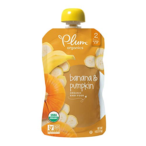 Plum Organics Stage 2, Organic Baby Food, Banana and Pumpkin, 4 ounce pouches (Pack of 12) (Packaging May Vary) ()
