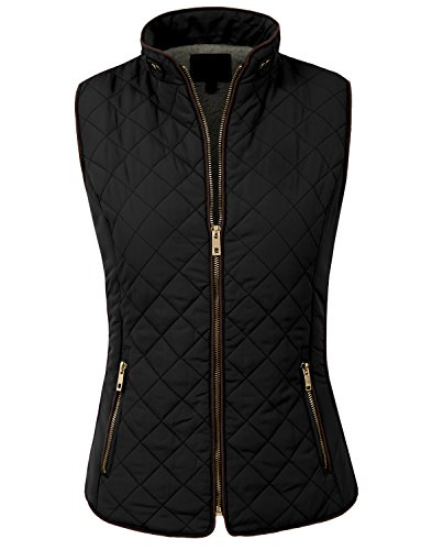 NE PEOPLE Womens Lightweight Wool Lined Quilted Zip JacketVest S3S, Small, NEWV44BLACK