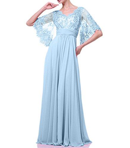 Kleider Himmel A Blau Abendkleider Chiffon Rock Spitze Festlichkleider La Jungweihe 2018 Linie Lang mia Braut Ballkleider qCwg6vg
