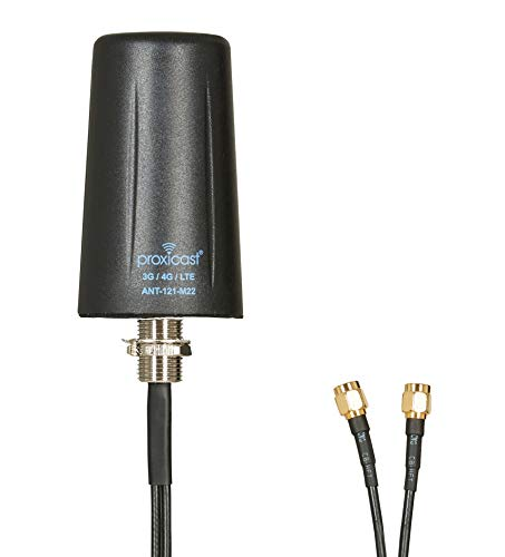 Vandal Resistant MIMO Low Profile 3G/4G/LTE Omni-Directional Screw Mount Antenna - 10 ft Coax Lead - for Cisco, Cradlepoint, Digi, Novatel, Pepwave, Proxicast, Sierra Wireless, and Others -