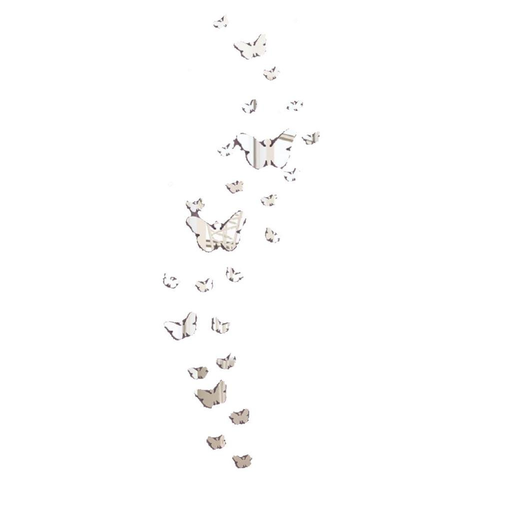 Zolimx 30PC Farfalla Combinazione 3D Specchio Muro Adesivi Casa Decorazione Diy (Bianca)