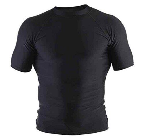 CLINCH GEAR | Short Sleeve Rash Guard For Workouts, Base Layer & Compression (Black, (Gear Short Sleeve Shirt)