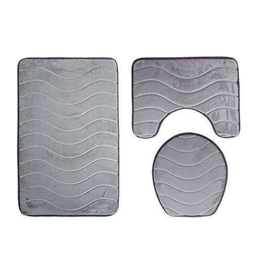 Solid 3Pcs/Set Carpet Bathroom Bathroom Mat Bath Rugs Anti-Slip Mat for Toilet Shower Mats Bathroom Rug Set,Gray Wave,3 -