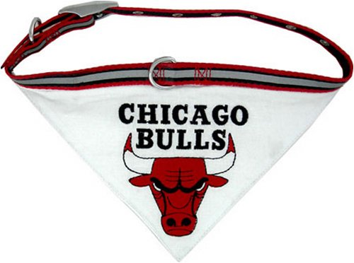 Pets First NBA BANDANA - CHICAGO BULLS DOG BANDANA with Reflective & Adjustable DOG COLLAR, Small