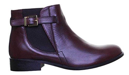 Buckle Dark Brown 100 Leather Womens Boots Chelsea Justin Reece Flat qpwcAWBgU