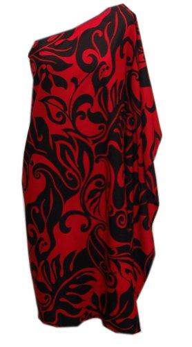 Short Women's Friday Dress Fashions One Aloha Hawaiian Jade Shoulder Red Black Inc qw7A8