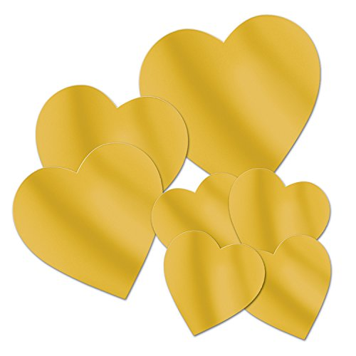 - Beistle 54698-GD Packaged Gold Foil Heart Cutouts, Assorted Sizes, 7 Cutouts In Package