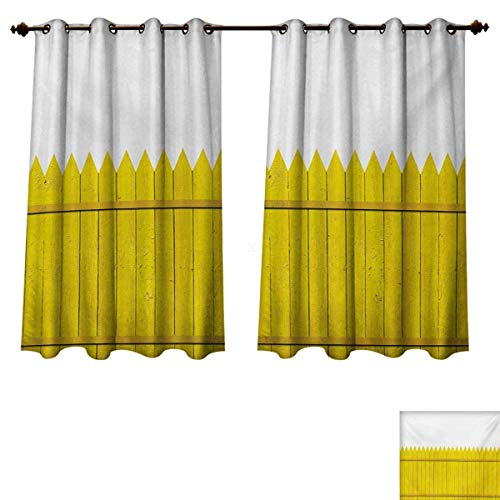 RuppertTextile Yellow Blackout Curtains Panels for Bedroom Colorful Wooden Picket Fence Design Suburban Community Rural Parts of Country Room Darkening Curtains Yellow Mustard W63 x L45 inch