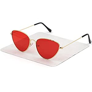 XINMADE CAT Woman Sunglasses,Cat Eye Shaped and Flat Lenses Eyewear (gold frame jelly red lens)