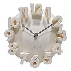 GCA 3d Big Digital Modern Contemporary Home Office Decor Round Quartz Wall Clock White
