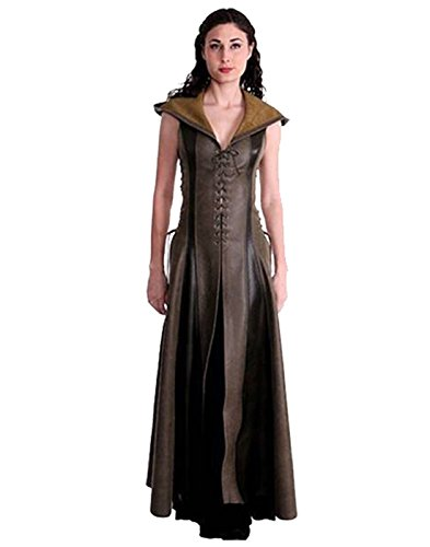 Sinastar Women's Vintage Archer Cosplay Costume Long Hooded Lace up Leather Dress ()