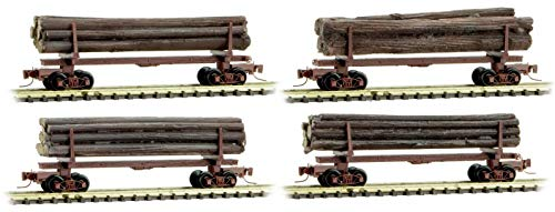 Micro-Trains MTL Nn3-Scale Narrow Gauge 30ft Log Cars with Loads Runner 4-Pack