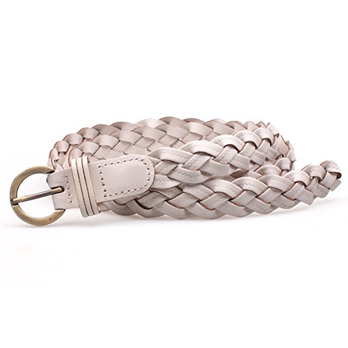 White Braided Belt - MoYoTo® Women's Fashion Thin Braided Leather Belt For Dress with Buckle 20mm (White)