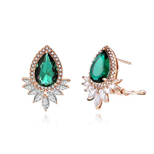 FANCIME Rose Gold Plated Pear Cut Created Green Emerald Cubic Zirconia CZ Stud Statement Earrings with Flowers Clusters Jewelry for Women Girls, with Gift Box for Mother's Day,Height:2.3 ()