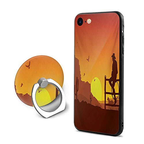 Western iPhone 7/iPhone 8 Cases,Silhouette of Cowboy in Wild West Sunset Scene American Culture Image Artsy Print Burnt Orange,Mobile Phone Shell Ring Bracket