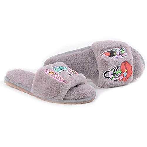 Women's Fur Slippers Home Embroidery Plush Flat Slides Winter Indoor Soft Non-Slip Fluffy Slippers Sandals get discount