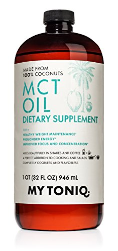 My Toniq MCT Oil 32 oz Dietary Supplement Made From 100% Coconuts Real Fractionated Coconut Oil Supports Weight Maintenance and Metabolism Function 30 day 100% Money back Guarentee