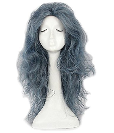 Yuehong Long Wavy Grey Witch Wig Synthetic Anime Cosplay Wig Heat Resistant Wig