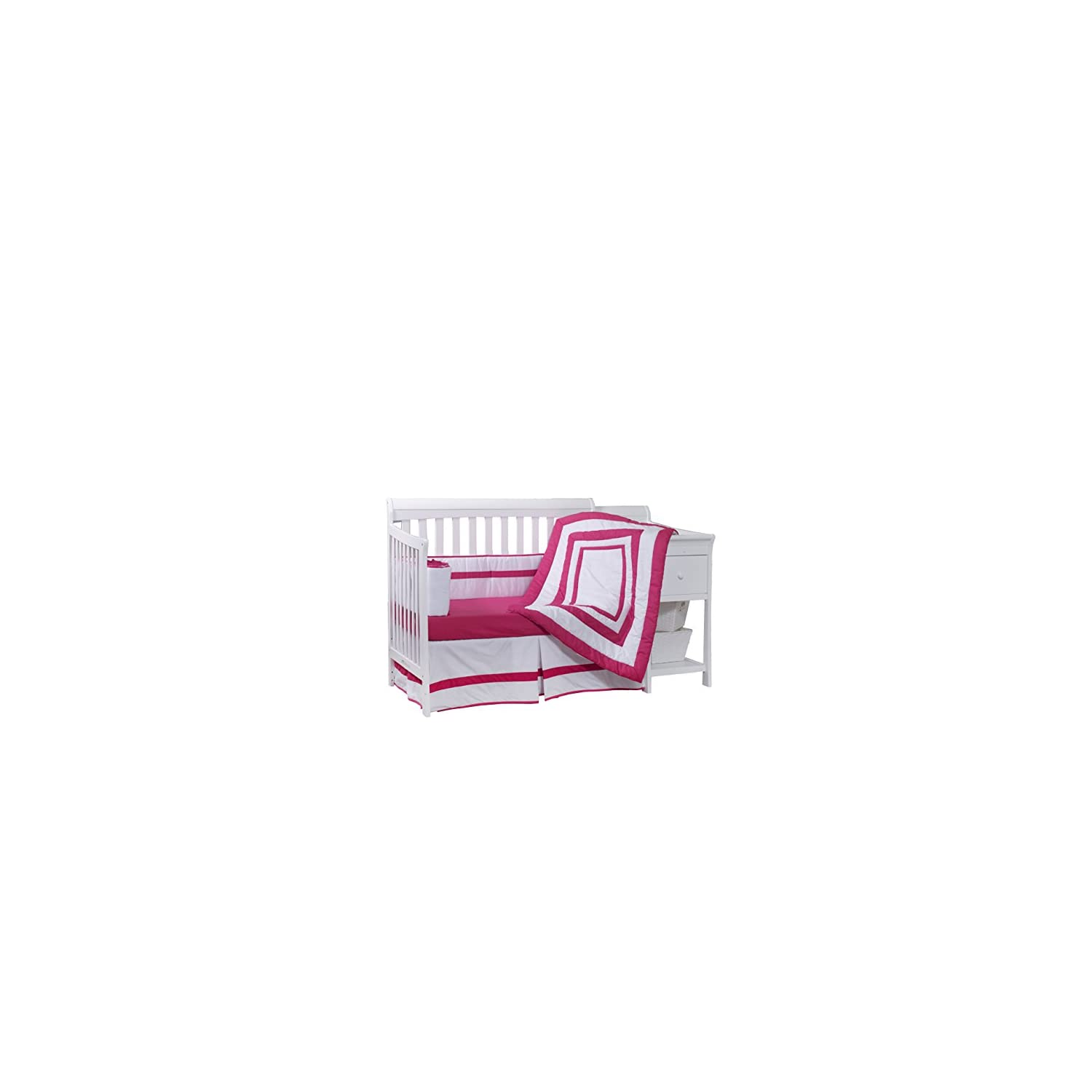 Baby Doll Bedding Modern Hotel Style Crib Bedding Set, Hot Pink