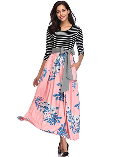 kefirlily Womens 3/4 Sleeve Striped Floral Print Patchwork Tie Waist Maxi Dress with Pockets Pink