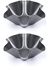 NUOMI Nonstick Tortilla Bakers, Tortilla Shell Bowl Molds Set of 2 Taco Salad Shell Makers, Carbon Steel