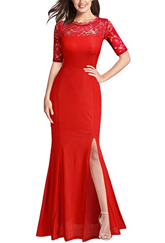 FORTRIC Women Floral Lace Split Prom Formal Party Long Evening Dress Red X-Large