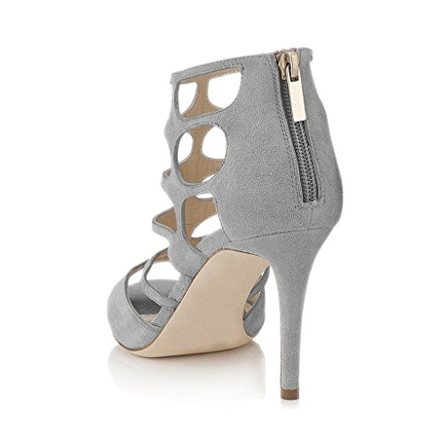 4 Women Strappy Pumps Chic Sandals Caged Dress Cutout Shoes Toe 15 High Peep Grey Size Heels FSJ US v0d6q6