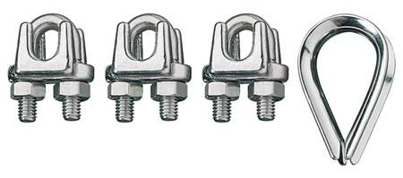 (RONSTAN ID003404-10 Wire Rope Clip/Thimble Kit,3/8In,316SS)