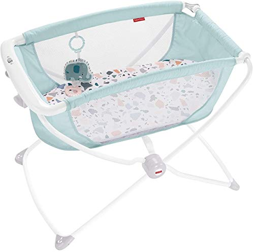 Fisher-Price Rock with Me Bassinet – Pacific Pebble, Portable Bassinet with Rocking Motion and Soothing Features for…