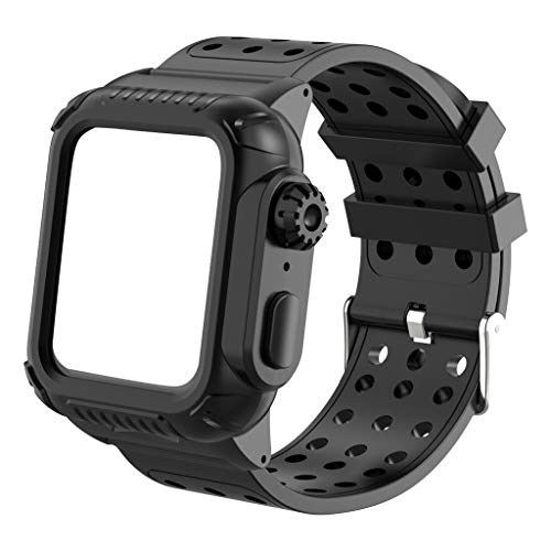 NOGOQU for Apple Watch Series 4 Case Full Body Protective Rugged Case Dust Proof Built-in with Soft Sport Band Strap 40mm Black