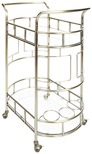 Silverwood FS1133A-COM Sinclair 2-Tier Serving Cart 2, 17 L x 26.5 W x 34.5 H, Antique Gold
